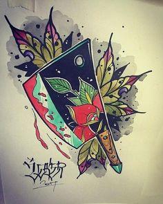Knife tattoo old school| Messertattoo Old School school Body Art Tattoos, Small Tattoos, Sleeve Tattoos, Cool Tattoos, Tattoo Sketches, Tattoo Drawings, Art Sketches, Old School Tattoo Designs, Tattoo School