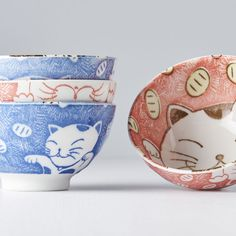 Bowl set Manga Maneki 4 pcs - Made In Japan Europe Japanese Cat, Ceramic Materials, Red Background, Bowl Set, Europe, Ceramics, Manga, Tableware, How To Make