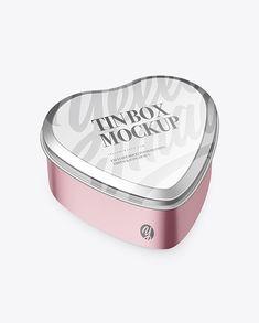 Heart-Shape Metallic Tin Box Mockup