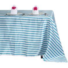 "60x102"" White/Turquoise Striped Satin Tablecloth"