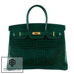 Hermes 35cm Birkin Emeraude Emerald Green Shiny Porosus Crocodile Gold BNIB | eBay