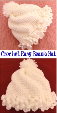 Today we are going to show you how to crochet amazing and easy Hat Beanie, which is not difficult to make and we hope you will have so much fun during Crochet Beanie Hat, Crochet Baby Hats, Crochet For Kids, Crochet Clothes, Beanie Hats, Beanies, Easy Knitting Projects, Easy Projects, Diy Crafts Crochet