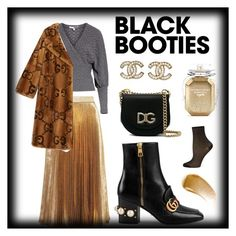 """Black booties and glam"" by xx-adda on Polyvore featuring Christopher Kane, Tracy Reese, Dolce&Gabbana, ilux, Gucci, Chanel, Victoria's Secret, BBrowBar, Winter and black"