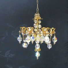 Dollhouse Miniature Crystal Chandelier By Marmades On Etsy 190 00