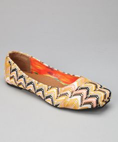 Take a look at this Mustard Zigzag Flat by Shoes of Soul on #zulily today! Only $16.99