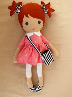 Reserved for Nikole Fabric Doll Rag Doll Red by rovingovine