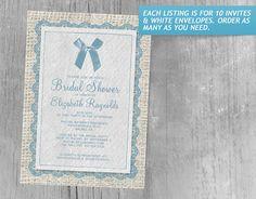 Blue Country Burlap Bridal Shower Invitations