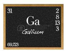 Pizarra aislada con la tabla periódica, el Galio. Galium. Ga.