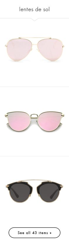 """lentes de sol"" by hipster999 ❤ liked on Polyvore featuring accessories, eyewear, sunglasses, glasses, eyes, aviator sunglasses, aviator style sunglasses, pink, pink mirrored sunglasses and metal frame sunglasses"