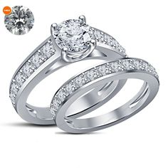 1.80 CT.T.W Silver Plated White CZ Engagement RD Bridal Ring Set With Free Gift…