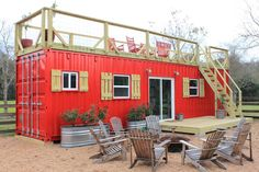 A 40' shipping container tiny house built by Backcountry Containers, located outside Houston, Texas. The home was featured on Tiny House, Big Living!