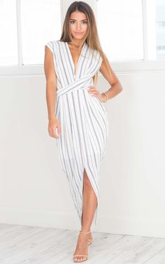 Driving Force dress in white stripe | SHOWPO Fashion Online Shopping