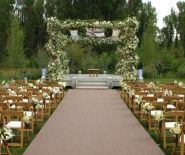 Jackson Hole Wyoming Outdoor Wedding Ceremony - ceremony, chuppah, fabric draped chuppa, flowers, wedding, wedding arch, color|green, color|white
