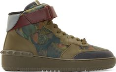 Valentino: Green Butterfly Camo High-Top Sneakers | SSENSE