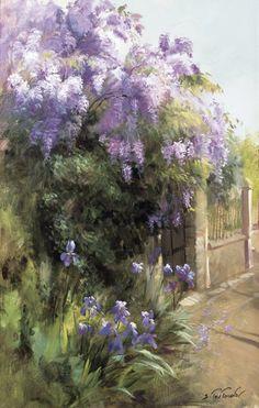 Ирисы у ограды репродукция для интерьера картина букет цветов маслом цветы в живописи пейзаж ирисы у ограды