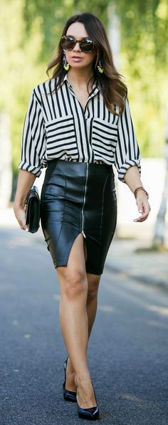 Super Sexy Leather Skirt + Striped Blouse                                                                                                                                                      More