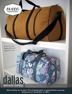 Swoon Patterns: Dallas Vintage Duffel - PDF Bag Purse Duffle Sewing Pattern
