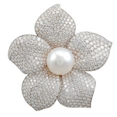 CARTIER Diamond Pearl Flower Brooch - 1stdibs