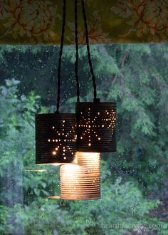 Make your own pendant light fixture with this easy tin can upcycle. A great inexpensive way to add a bit of rustic decor to your home.