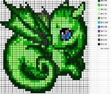 Green Baby Dragon Pattern by Sneeuwmaan
