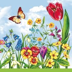 20 napkins - 33 x 33 cm ,  Flowers - pansies,  Flowers - hyacinths,  Flowers - tulips,  Spring,  lunchnapkins,  Primroses,  snowdrops