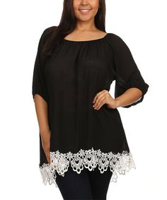 Look at this #zulilyfind! Black Lace-Hem Tunic - Plus by J-Mode USA Los Angeles #zulilyfinds