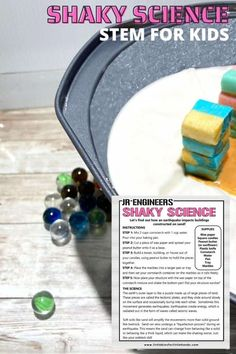 Have you ever thought about what you are standing on? Make a mini earthquake and find out what happens to buildings built on sand. This fun and simple earthquake experiment is a great geology activity for multiple ages. Science Activities For Kids, Kindergarten Science, Stem Activities, Learning Activities, Nature Activities, Stem Learning, Early Learning, Stem Projects, Science Projects