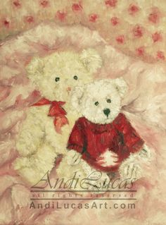 Signed Giclee Fine Art Print Teddies in Pink Still by andilucasart, $12.50