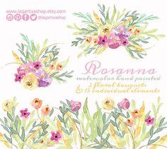 Flores en Acuarela Bouquet Clipart PNG pintadas a por LagartixaShop
