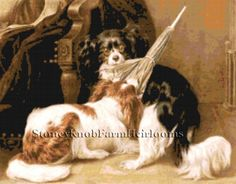 The Dispute ~ King Charles Spaniels ~ Dogs ~ Counted Cross Stitch Pattern #StoneyKnobFarmHeirlooms #CountedCrossStitch