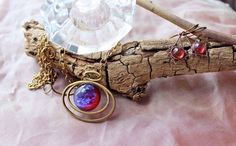 Fire Opal Necklace & Earrings Spectacular Dragon's Breath Golden Spring SALE #ArtistiqueJewelry