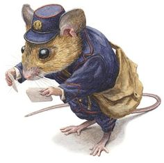 A mouse working for the postal service is reading envelope addresses Beatrix Potter, Chris Dunn, Mouse Pictures, Art Base, Pet Costumes, Children's Book Illustration, Animal Illustrations, Woodland Creatures, Watercolor Animals
