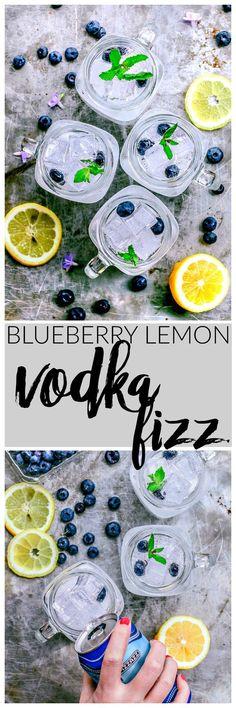 Blueberry Lemon Vodka Fizz Cocktail Recipe   Killing Thyme #vodka #cocktail #blueberry #lemoncocktail #springcocktail #summercocktail