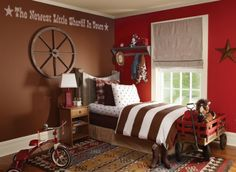 cute idea for boys room; note writing on wall.....   Decorating A Cowboy Western Boys Bedroom - Ideas