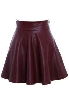 #romwe Flouncing High Waist Claret-red Slim Skirt