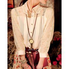 Victorian Style Classic Beige Lace Chiffon Top http://www.tastefashion.com/women/74-victorian-style-classic-beige-lace-chiffon-top.html