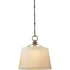 Visual Comfort Thomas O'Brien D'Arcy Medium Hanging Light in Antique Nickel with Silk Pleated Shade TOB5080AN-S