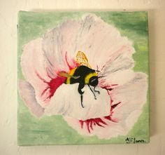 Bumble bee art Modern oil painting Contemporary art. Summer painting.Canvas wall art. Hibiscus flower painting.Original artwork - pinned by pin4etsy.com