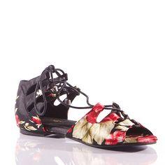 Burju - Legato, Street Flats, Black Flower Satin with Black Laces, size 7