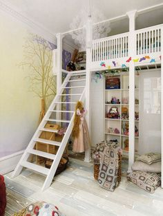 Raise the Roof: Kids' Loft Bed Inspiration. This is better then a lot of the designs I've seen, but I would still worry about my little one falling out.