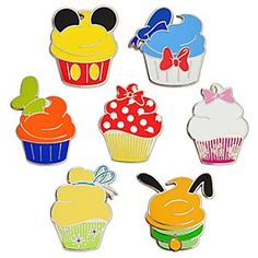 Disney Character Cupcake Pin Set - 7-Pc | Disney StoreDisney Character Cupcake Pin Set - 7-Pc - You'll eat up these deliciously designed pins created to look like character-themed cupcakes! The 7-piece set will boost your collection, and they'll make a great conversation piece with traders. How sweet is that?