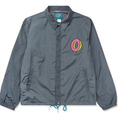 Odd Future Charcoal Single Donut Coach Jacket featuring polyvore, women's fashion, clothing, outerwear, jackets, odd future jacket, coach jacket, wolf jacket, charcoal jacket and blue jackets