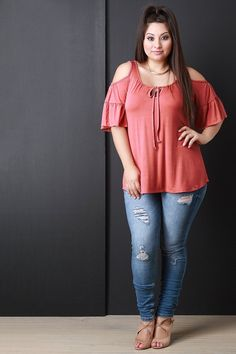 Cold Shoulders Ruffle Sleeves Top - Gioellia Boutique - 9