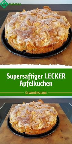 Supersaftiger LECKER Apfelkuchen Ingredients 125 g margarine or butter, soft 125 g sugar 3 egg (s) pck. Baking powder 250 g flour 1 kg apples, peeled, pitted fat for the form a lot of butter for brushing a lot of sugar or sugar and cinnamon Oreo Desserts, Pudding Desserts, Easy Cake Recipes, Dessert Recipes, Food Cakes, Cookies Et Biscuits, Healthy Foods To Eat, Coffee Cake, No Bake Cake