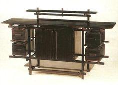 Gerrit Rietveld De Stijl black painted sideboard cabinet