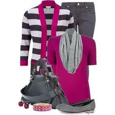 """""""Striped Cardigan/Chloe Bags"""" by amybwebb on Polyvore"""