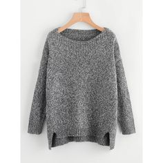 Raw Cut Dip Hem Sweater ($15) ❤ liked on Polyvore featuring tops and sweaters