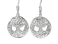 Sterling Silver Tree Of Life Drop Earrings Tree Of Life Jewelry, Butterfly Jewelry, Body Jewellery, Sterling Silver Jewelry, Women Jewelry, Pendant Necklace, Drop Earrings, Steel, Drop Earring