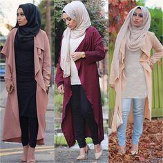 waterfall-cardigan-hijab-style uploaded by Just trendy girls Street Hijab Fashion, Abaya Fashion, Muslim Fashion, Modest Fashion, Modest Clothing, Hijab Wear, Hijab Outfit, Hijab Styles, Look Fashion