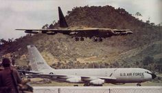 B-52, and KC-135 at U-Tapao Air Base, Thailand - The Army base was on the other side of that hill. They would send three B-52s, and one KC-135 every couple of hours to Vietnam in 1971.